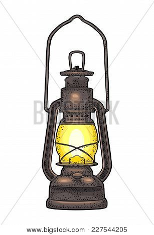 Antique Retro Gas Lamp. Vintage Color Engraving Illustration For Poster, Web. Isolated On White Back