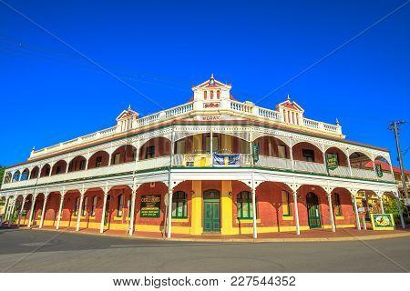 York, Australia - Dec 25, 2017: Castle Hotel Corner On Avon Terrace, York, A Popular Tourist And His