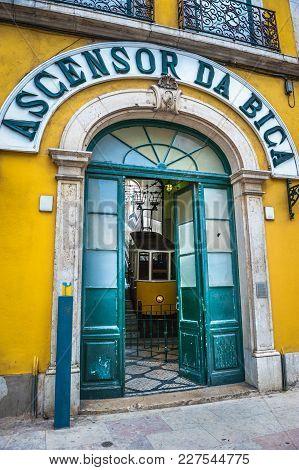 Bica Funicular Entrance With Ascensor Da Bica Sign, Lisbon, Portugal