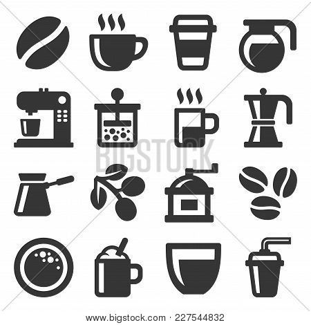Coffee Icons Set On White Background. Vector Illustration