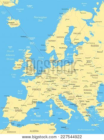 Europe Map - Highly Detailed Yellow Blue Vector Illustration