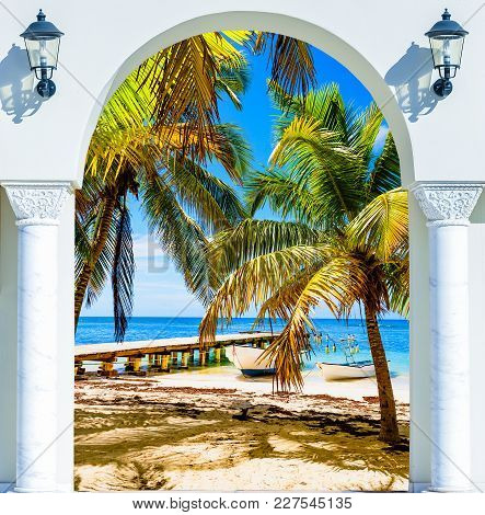 Wooden Open Door Arch Exit To The Beach Caribbean Dominican Republic