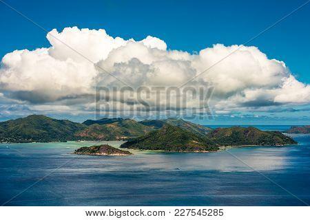 Aerial View Of Praslin Island Coastline, Seychelles