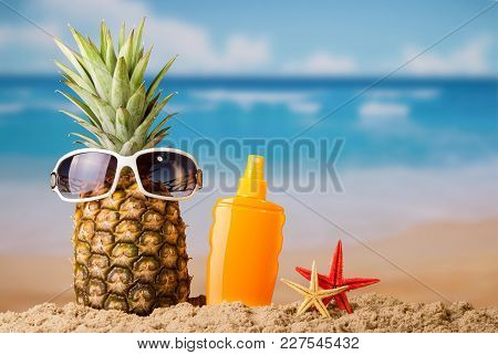 Sandy Beach, Tropical Fruit And Sunblock. Background