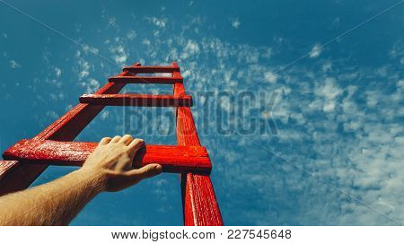 Development Attainment Motivation Career Growth Concept. Mans Hand Reaching For Red Ladder Leading T