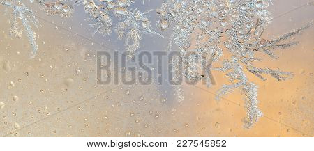 Colorful Background - Silver Frost On Window. Frozen Water On The Window Creates Silver Beautiful Or