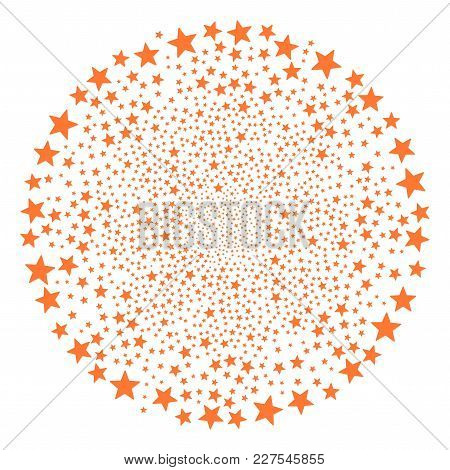 Fireworks Star Explosion Circle. Object Pattern Constructed From Scattered Fireworks Star Pictograph