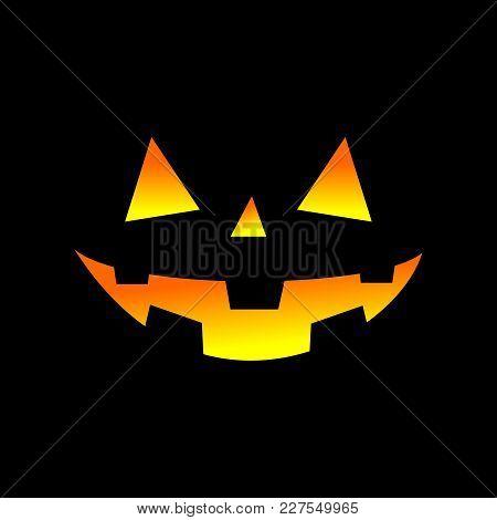 Pumpkin Lights Jack O Lantern Halloween Profile Vector Graphic Design Black Background