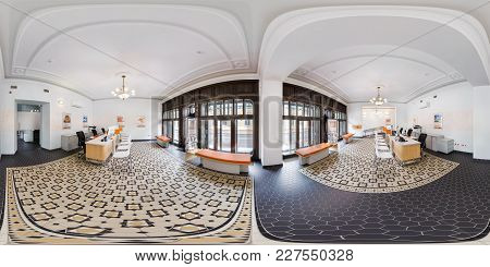Grodno, Belarus - August 7, 2017: 360 Panorama In Interior Modern Office Of Bank With Panoramic Wind