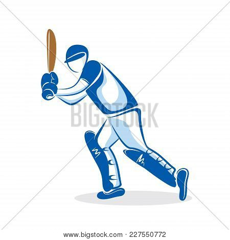 Cricket Player Hitting Big Shoot For Four Design