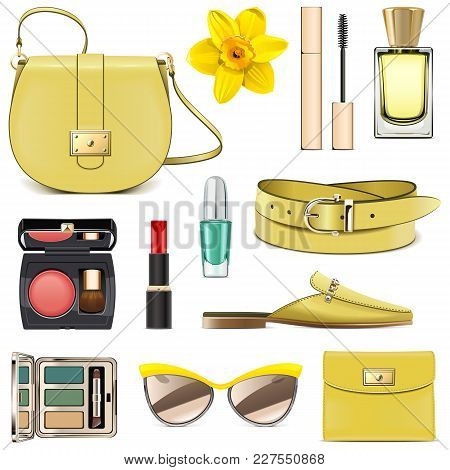 Vector Yellow Fashion Accessories Isolated On White Background