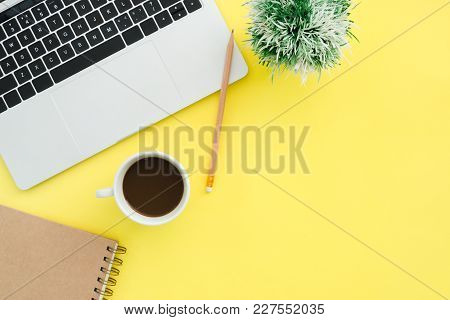 Minimal Work Space - Creative Flat Lay Photo Of Workspace Desk. Top View Office Desk With Laptop, No