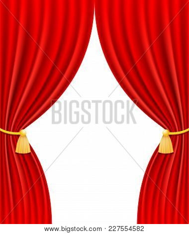 Red Theatrical Curtain Vector Illustration