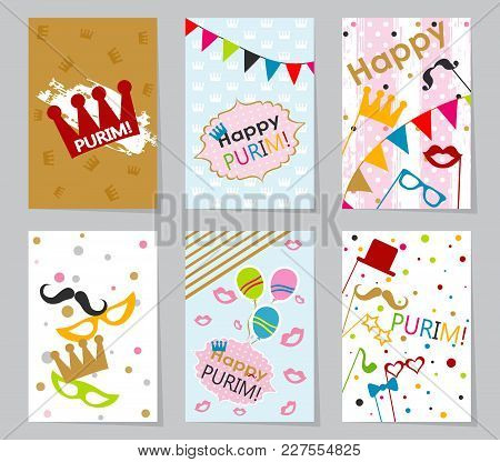 Template Jewish Holiday Purim Greeting Card, Crown, Vector Illustration