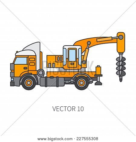 Color Flat Vector Icon Construction Machinery Truck Boer, Well. Industrial Retro Style. Corporate Ca