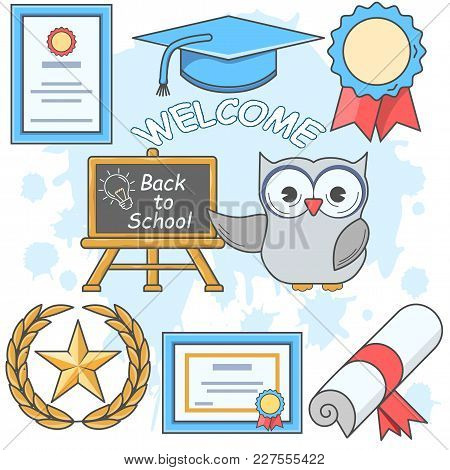 Back To School.  Set Of  Line Icons