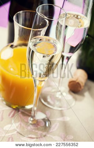 Two Flute Glasses Filled With Champagne