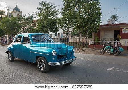 Vinales, Cuba - December 5, 2017: Old 1950s Car In The Central Street Of Vinales