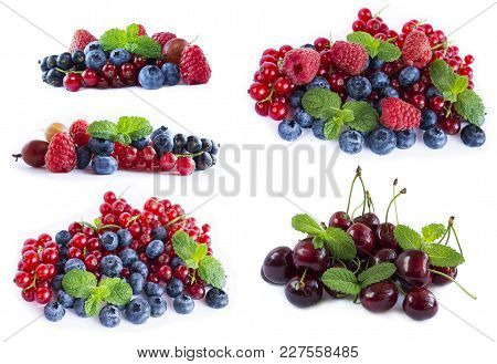 Set Of Fresh Fruits And Berries. Ripe Blueberries, Currants And Raspberries. Various Fresh Summer Be