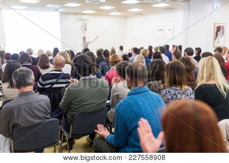 Life Coaching Symposium. Female Speaker Giving Interactive Motivational Speech At Entrepreneurship W