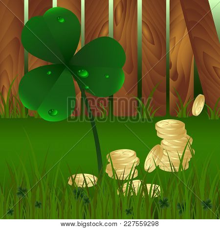 Spring Plant Fhree-leafed Clover With Dew And Golden Coins On With Green Grass And Wooden Garden Fen