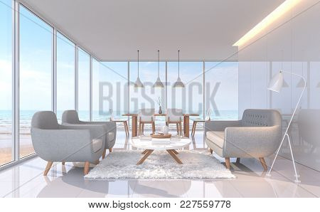 Modern White Living And Dining Room With Sea View 3d Rendering Image.there Are White Tile Floor.furn