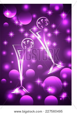 Two Glasses With A Drink, On A Lilac Background With Neon Lights And Effects