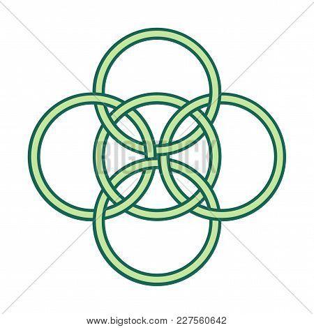 Vector Symbol: Five Fold Celtic Knot. Five Elements Gaelic Circle Knot.