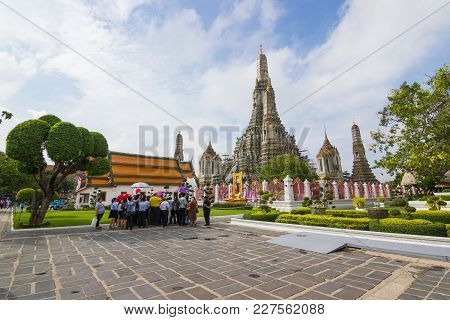 Wat Arun, Thailand - February 1, 2017: Wat Arun Or Commonly Referred To In The Language That The Mea