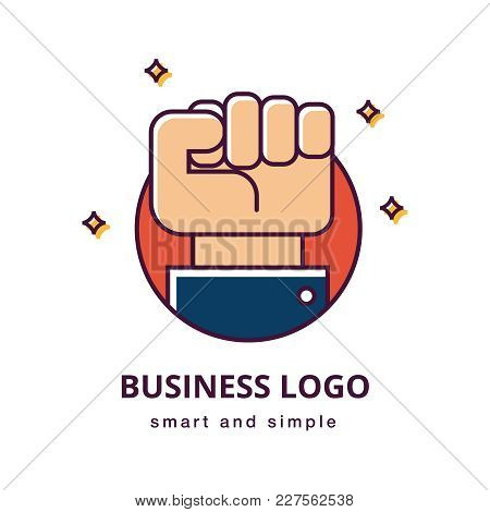 Business Motivation Logo Concept. Clenched Fist Hand Gesture And Sleeve Of A Suit. Business Gesture.