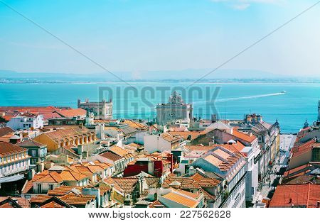 Beautiful Skyline View Over Rossio Square, Lisbon, Portugal