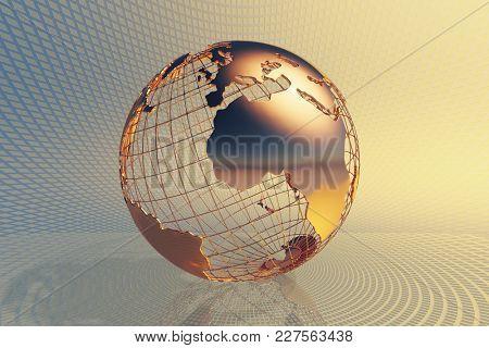 World global business design with abstract hi-tech golden metal background (3D render)