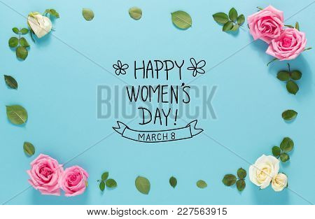 Women's Day Message With Roses And Leaves