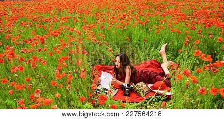 Drug, Narcotics, Opium, Woman With Typewriter, Camera, Book. Drug And Narcotics, Woman In Poppy Flow