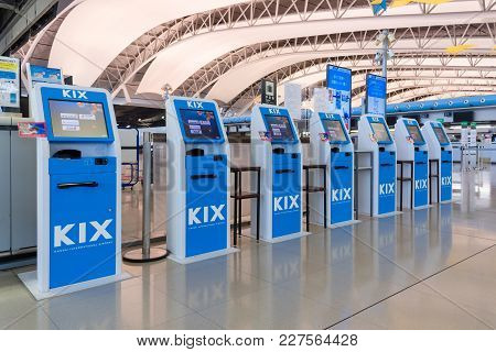 Osaka,japan-nov 30:self Check-in Service Counters Inside The Kansai International Airport On Novembe
