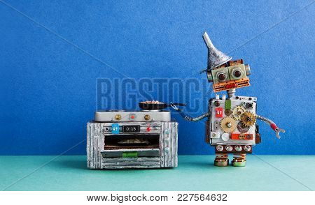 Robot Chef Cooking. Frying Pan Electronic Stove Oven. Creative Design Toys, Automation Robotic Futur