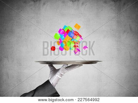 Hand Of Waiter Presenting Cubes On Tray.