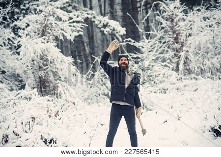 Camping, Traveling And Winter Rest. Man Lumberjack With Ax. Temperature, Freezing, Cold Snap, Snowfa