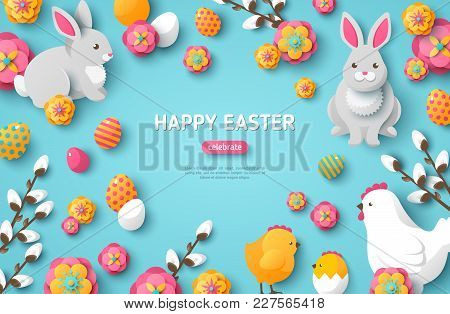 Happy Easter Blue Background With Easter Symbols. Vector Illustration. Spring Holiday Concept, Place