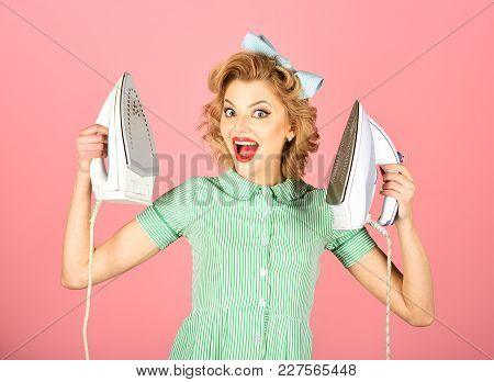 Retro Woman Ironing Clothes, Gender Inequality. Everyday Life, Housework. Housekeeper In Uniform Wit