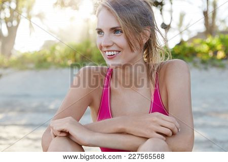 Female Athlete Being Satisfied With Outdoor Activities During Summer Sunny Weather, Fatigue But Glad