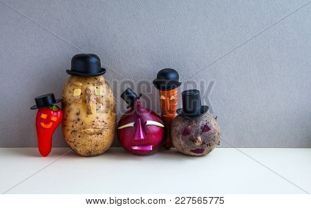 Mister Potato Red Onion Beetroot Pepper Carrot. Old Fashion Style Characters Plants, Serious Faces A