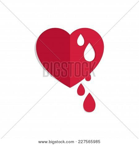 Vector Red Bleeding Heart For World Hemophilia Day, World Donor Day, Medical Concept, Heart Shape Wi