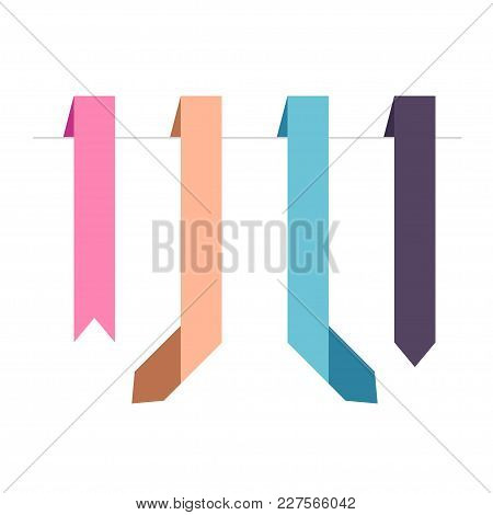 Flat Vector Four Vertical Ribbons Arrows And Pointers Banners. Set Of Decorative Colored Horizontal