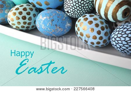 Decorated Easter Eggs On A Solid Pastel Color Background And A Message Happy Easter Lettering Sign.