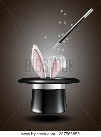 White Rabbit Ears Appear From The Magic Hat, Isolated On White Background. Vector Illustration
