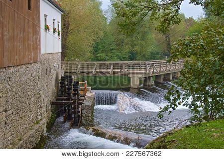 Watermill Running Near Postojna Cave In Slovenia