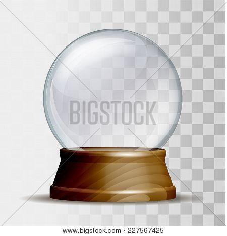 Empty Snow Globe. Magic Glass Sphere On Wooden Pedestal Isolated On White Background. Vector Illustr