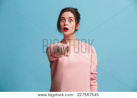 I choose you and order. Overbearing business woman point you, want you, half length closeup portrait on blue studio background. The human emotions, facial expression concept. Front view. Trendy colors poster