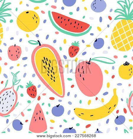 Vector Tropical Fruit Background With Pineapple, Mango, Watermelon, Dragon Fruit, Pitaya, Banana, Pa
